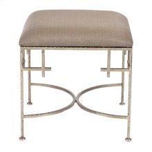 Hammered Silver Leaf Stool W. Beige Linen Upholstered Top.