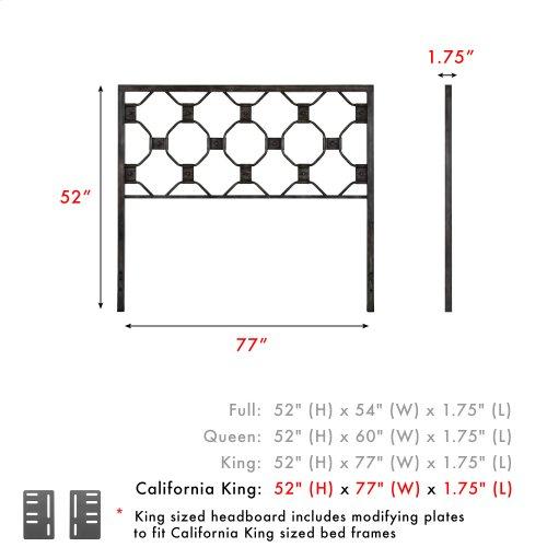 Baxter Metal Headboard Panel with Geometric Octagonal Design, Heritage Silver Finish, California King