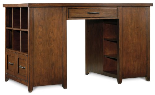 Home Office Wendover Utility Desk (One Drawer Pedestal and One Bookcase Pedestal)