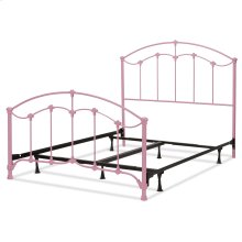 Amberley Fashion Kids Complete Metal Bed and Steel Support Frame with Elegant Curves and Floral Medallion Accents, Cotton Candy Pink Finish, Full