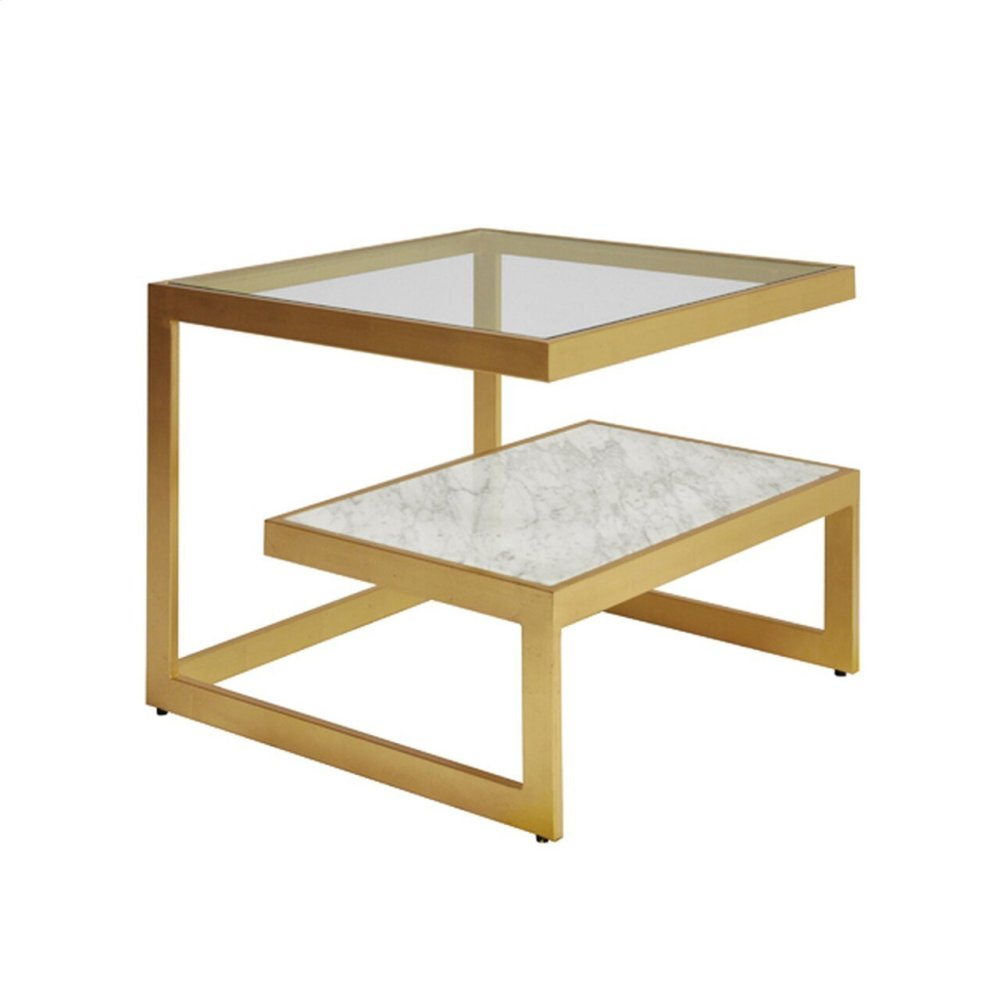 Iron Table With Glass and Marble Shelves In Gold Leaf