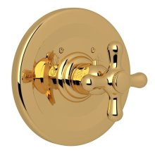 Italian Brass Verona Thermostatic Trim Plate Without Volume Control with Verona Series Only Cross Handle
