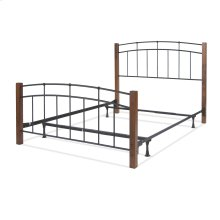 Benson Complete Metal Bed and Steel Support Frame with Maple Wood Posts and Sloping Top Rails, Black Finish, Full