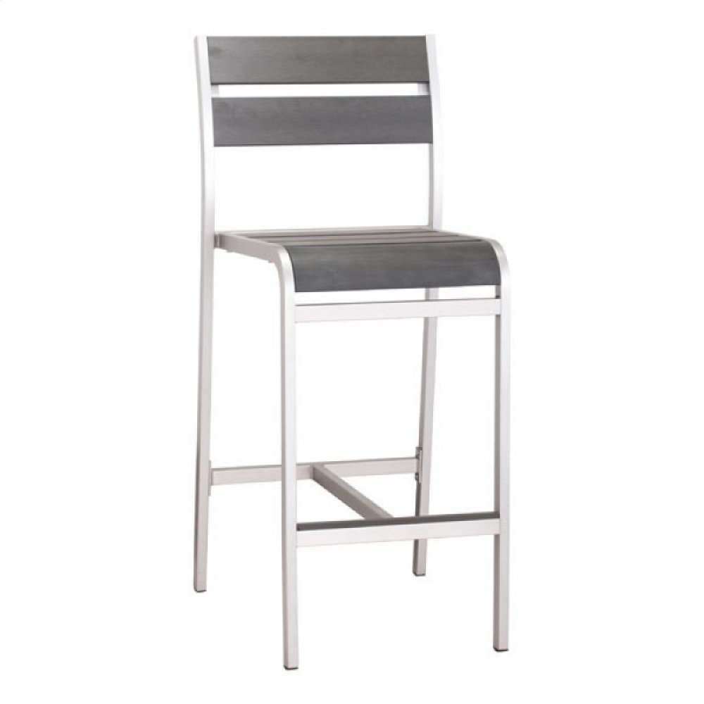 Megapolis Bar Armless Chair Brushed Aluminum