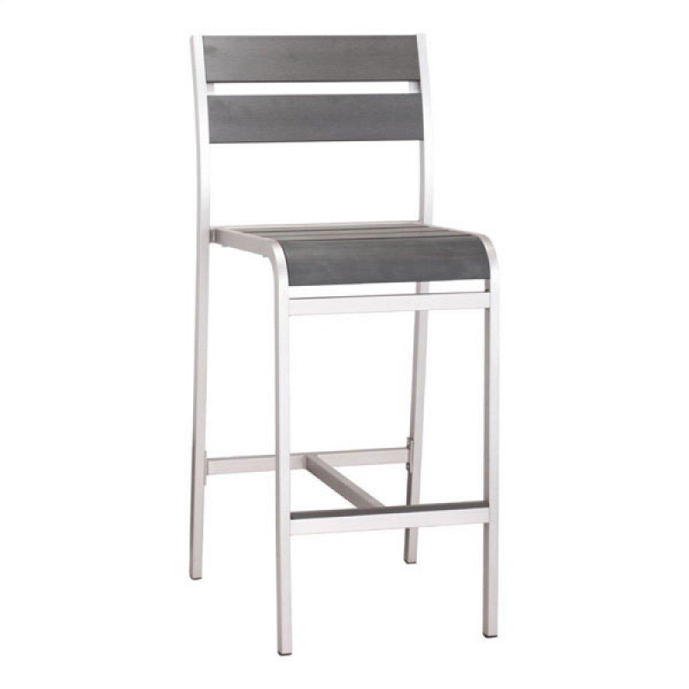 Megapolis Bar Armless Chair Brushed Aluminum