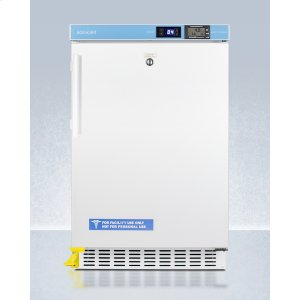 """SummitADA Compliant 20"""" Wide Built-in Undercounter All-refrigerator for Healthcare Applications, Frost-free With A Step-to-open Door Pedal, Internal Fan, External Digital Controls and Nist Calibrated Thermometer, and Lock"""