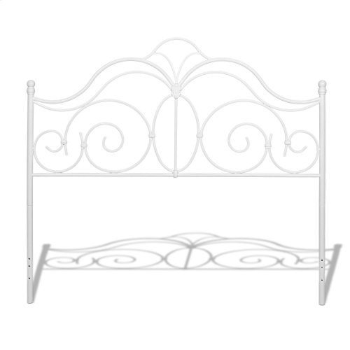 Rhapsody Metal Headboard and Footboard Bed Panels with Delicate Scrolls and Finial Posts, Glossy White Finish, Full