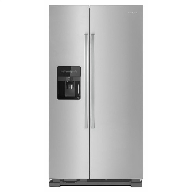Amana 33-inch Side-by-Side Refrigerator with Dual Pad External Ice and Water Dispenser - Black-on-Stainless