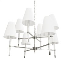 Two Tier Chandelier In Nickel and White With Eight White Shades