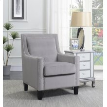 Manor Gray Velvet Accent Chair with Nailhead Trim