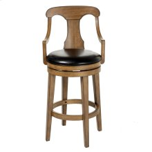Albany Swivel Seat Bar Stool with Acorn Finished Wood Frame, Sloped Arms and Black Faux Leather Upholstery, 30-Inch Seat Height