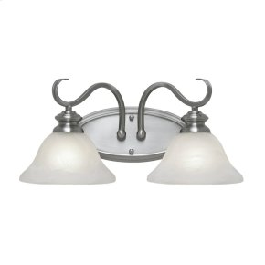 Lancaster 2 Light Bath Vanity in Pewter with Marbled Glass