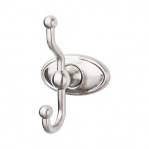 Edwardian Bath Double Hook Oval Backplate - Brushed Satin Nickel