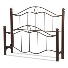 Cassidy Metal Headboard and Footboard Bed Panels with Sloping Horizontal Rails and Dark Walnut Wood Color Finial Posts, Mink Finish, Queen