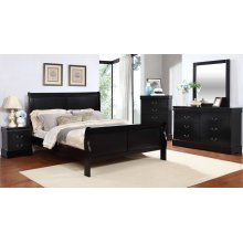 Louis Philippe Black Queen Sleigh Bed