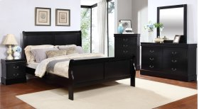 Louis Philippe Black King Sleigh Bed