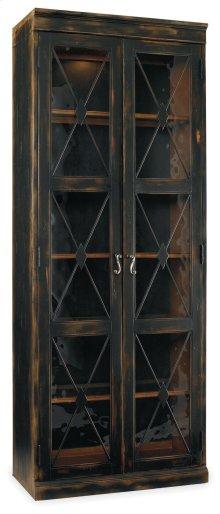 Living Room Sanctuary Two-Door Thin Display Cabinet - Ebony