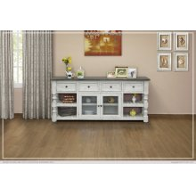 """80"""" TV Stand w/ 4 Drawer & 2 Glass Doors"""