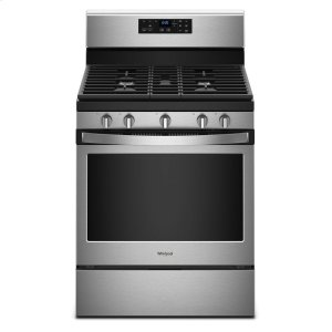 5.0 cu. ft. Freestanding Gas Range with Center Oval Burner - BLACK-ON-STAINLESS