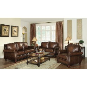 CoasterMontbrook Traditional Hand Rubbed Brown Loveseat