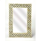 This magnificent Wall Mirror features sophisticated artistry and consummate craftsmanship. The gemoteric patterns covering the piece are created from white bone inlays cut and individually applied in a sea of black by the hands of a skillful artisan. hang Product Image