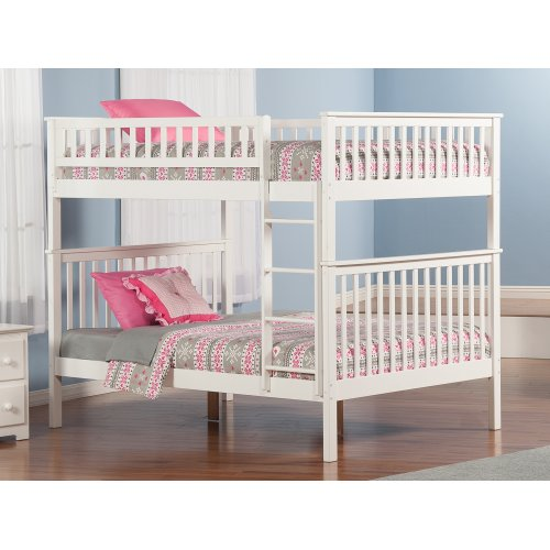 Woodland Bunk Bed Full over Full in White