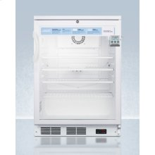 """24"""" Wide Glass Door Refrigerator for Freestanding Use, Auto Defrost With A Lock, Nist Calibrated Thermometer, Digital Thermostat, and Internal Fan"""