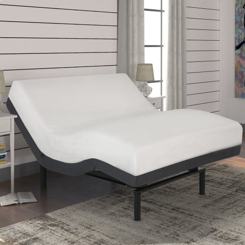 Surge Adjustable Bed Base with Full Body Massage and Wallhugger Technology, Flint Onyx Finish, Queen