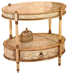 Sophisticated hand painted design on select hardwoods and wood products. Single, felt lined drawer under bottom shelf with antique brass finished hardware.
