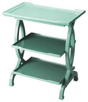 This tiered end table, in a Mint Crème finish, is the perfect accessory to serve multiple purposes, whilst looking elegant. The lovely rectangular table fits perfectly into any corner of your room without creating clutter. It stands on four uniquely carve