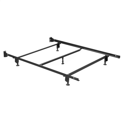 Inst-A-Matic Premium Bed Frame 753GC4 with Headboard Brackets and (5) 2-Piece Glide Legs, Black Finish, Full