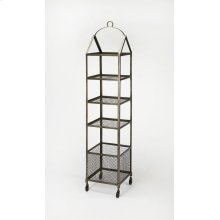 Attractively display photos, books, or household items on this industrial-chic etagere. Featuring four tiers of shelving and a bottom storage basket, it has lots of storage and casters for easy mobility.