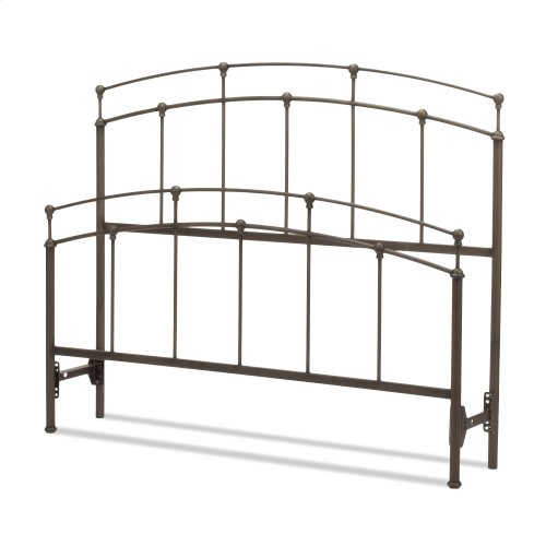 Fenton Bed with Metal Duo Panels and Globe Finials, Black Walnut Finish, Queen