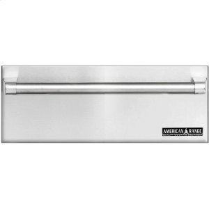 "American Range27"" Fully Integrated Stainless Steel Warming Drawer. Shown With Custom Wood Panel and ARWDH-27 Handle."