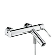Chrome Single lever bath mixer for exposed installation with lever handle