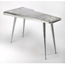 This Pub Table is riveting; soaring with the flair of an airplane wing and guaranteed to help a room soar to new heights. Crafted from polished aluminum and rivets; which detail this shimmering pub table which soars atop four matching taper legs that gu