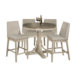 Hillsdale FurnitureClarion 5-piece Round Counter Height Dining Set With Parson Stools - Distressed Gray Top With Sea Wh