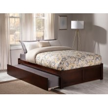Concord Full Flat Panel Foot Board with Urban Trundle Walnut