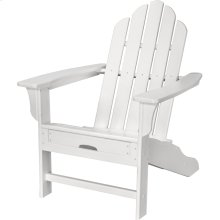 All-Weather Contoured Adirondack Chair with Hideaway Ottoman- White