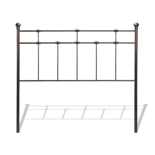 Dexter Metal Headboard Panel with Decorative Castings and Finial Posts, Hammered Brown Finish, Full