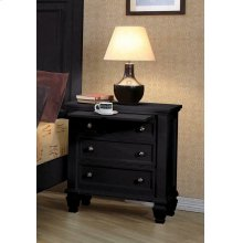 Sandy Beach Black Three-drawer Nightstand With Tray