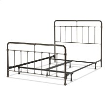Fairfield Complete Metal Bed and Steel Support Frame with Spindles and Intricate Castings, Dark Roast Finish, Full
