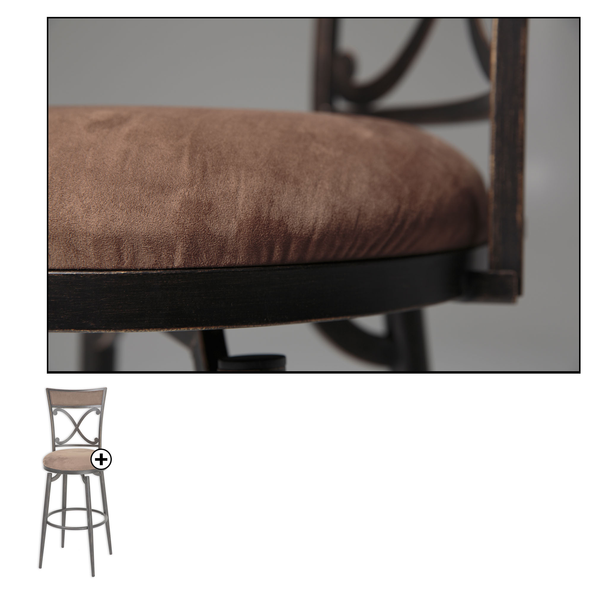 Additional Montgomery Metal Barstool With Cocoa Microfiber Swivel Seat And  Blackened Bronze Frame Finish,