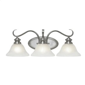 Lancaster 3 Light Bath Vanity in Pewter with Marbled Glass