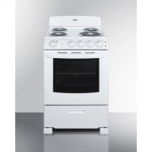 """24"""" Wide Electric Range In White Finish With Coil Burners, Lower Storage Compartment, and Oven Window"""