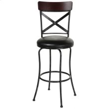 Austin Swivel Seat Bar Stool with Black Fleck Finished Metal Frame, Wood Seatback and Black Faux Leather Upholstery, 30-Inch Seat Height