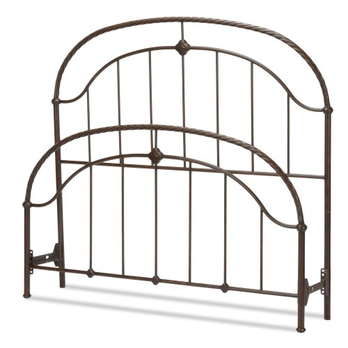Cascade Bed with Metal Panels and Twisted-Rope Rail, Ancient Gold Finish, Queen