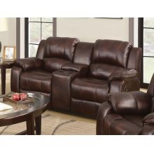 BROWN LOVESEAT W/CONSOLE