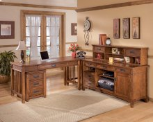 Cross Island - Medium Brown 5 Piece Home Office Set