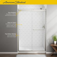 Top-Roller Semi-Frameless Sliding Shower Door - 44-48 Inch  American Standard - Brushed Nickel